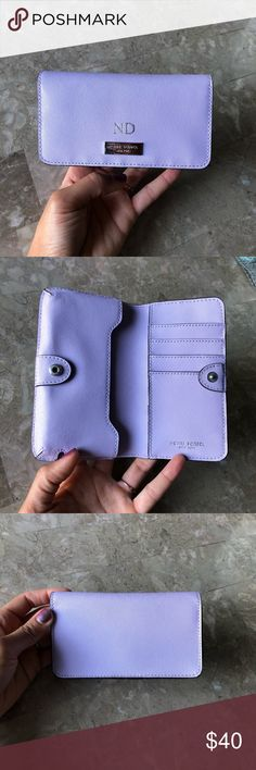 Phone Wallet Purple. Like very new. Engraved ND. Fits phone size iPhone 8 henri bendel Bags Wallets