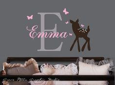 Baby deer and butterflies  Custom name and by GroveMillsGraphics. , via Etsy.