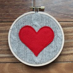 red heart embroidery hoop art on tan cable knit upcycle sweater, valentine's day decor