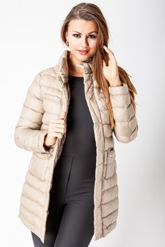 Beige Padded Coat with Golden Chain Applique - Jackets & Coats - Clothing  http://jessyss.com/clothing/jackets-coats/beige-padded-coat-with-golden-chain-applique.html?barva=