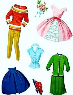 Barbie Paper Doll 4 of 7 Paper Doll Costume, Barbie Paper Dolls, Vintage Barbie Dolls, Vintage Paper Dolls, Dolls Dolls, Rag Dolls, Fabric Dolls, Doll Clothes Patterns, Clothing Patterns