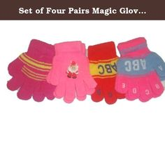 Four Pairs Stretch Magic Gloves Mittens for Infants Ages 6 Months to 4 Years