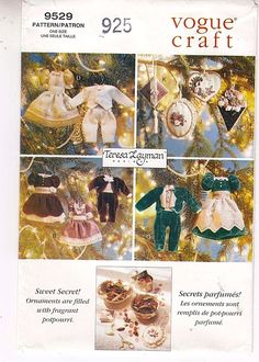 Victorian Christmas Clothing Ornaments Vogue 9529 Teresa Layman Sewing Pattern  #VogueCraft #victorianchristmas
