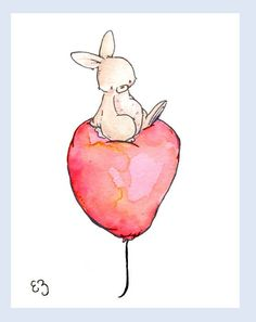 Children Art Print. Bunny Sitting on Red Balloon. PRINT 8X10. Nursery Art Home Decor