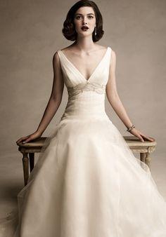 Deep V-neck Wide Straps Beadings Ribbon Satin Tulle Chapel Train Wedding Dress in A-line (FTWD-113)