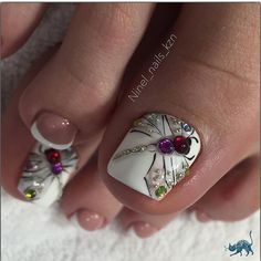 spring Uñas Cortas Decoradas that are fabulous. Pretty Toe Nails, Cute Toe Nails, Pretty Toes, Diy Nails, Toe Nail Color, Toe Nail Art, Summer Toe Nails, Spring Nails, Feet Nails