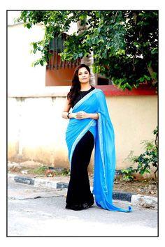 Telugu TV Anchor Anasuya Bharadwaj Long Hair Stills In Black Saree Saree Hairstyles, Bollywood Bikini, Indian Tv Actress, Black Saree, Lakme Fashion Week, Indian Attire, Dress Picture, Half Saree, Saree Blouse Designs