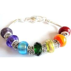 Rainbow Pandora/Troll Style Charm Bracelet - Ideal Birthday/Valentine/Mother's Day Gift - 13 beads and spacers on a 20cm silver plated lobster clasp bracelet  by Bay Jewellery  £9.99