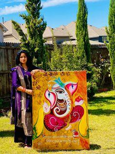 Lord Ganesha Paintings, Ganesha Art, Krishna Painting, Acrylic Painting Canvas, Canvas Art, Indian Art Paintings, Easy Paintings, Oil Paintings, Buddha Art