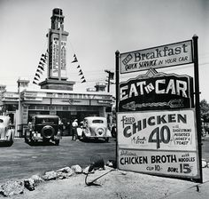 Eat in Car, Early Drive-In Restaurant, Hollywood, CA, 1935