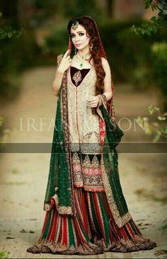 Pakistani Bridal Wear - Jugan Kazim for Mariam's Saloon. Pakistani Mehndi Dress, Bridal Mehndi Dresses, Pakistani Couture, Bridal Dress Design, Pakistani Wedding Dresses, Pakistani Dress Design, Bridal Lehenga, Bridal Style, Pakistani Designers