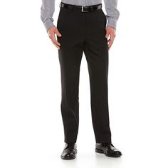 Men's Chaps Performance Classic-Fit Wool-Blend Comfort Stretch Flat-Front Suit Pants, Size: 42X30, Black