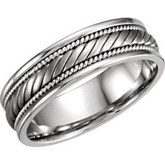 Jewelry & Watches Titanium Ridged Edge Black Enamel Braid Design 6mm Wedding Ring Band Size 11.00