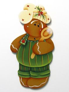 Gingerbread Boy Chef Ornament, Handpainted Wood | ToleTreasures - Seasonal on ArtFire