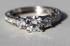 Diamond Engagement Ring  VINTAGE style  185 by BeautifulPetra