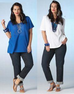 BLUSAS SIZE PLUS Curvy Fashion, Plus Size Fashion, Apple Body Type, Modest Outfits, Plus Size Women, Tunic Tops, Denim, How To Wear, Clothes