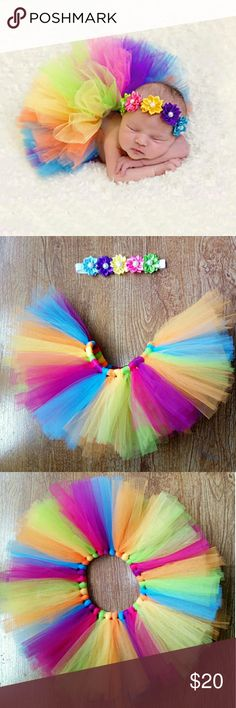 Rainbow Tutu Set- Newborn Photography Prop Rainbow Tutu Set  Includes Handmade Tulle Tutu, and Flower Headband.  This beautiful piece adds just the right touch to your little girls first photo shoot introducing her to all to family and friends. Hand Made Accessories Hair Accessories