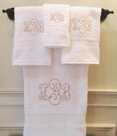 Navy Striped Monogram Bath Towel Set