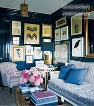 Stripes, peonies, ikat, seagrass, collectors wall, tufted linen, dripping navy walls, gilded mirror. Perf mix of masculine/feminine, elegant/casual, grownup/whimsical....