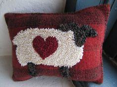 Primitive Punch Needle Pillow Molly by thecooperscottage on Etsy, $34.95