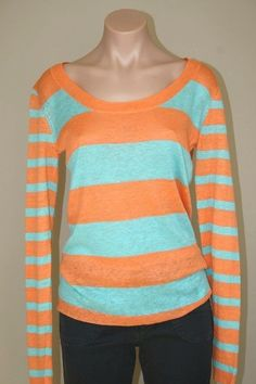 NEW Nordstrom PURE AMICI Scoop Neck Striped Knit Linen Sweater Pullover Top sz S #PureAmici #KnitTop #Casual