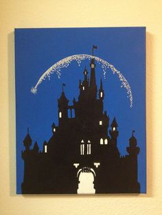 Disney Castle Silhouette Painting by DisneyHeartbeat on Etsy