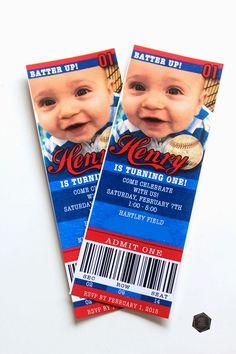 Baseball Birthday Party - baseball ticket invites