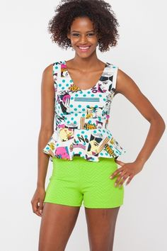 Be a fan girl with this cute peplum top featuring an allover cartoon print. This sleeveless top is finished with light weight fabric and scoop neckline.  www.cicihot.com
