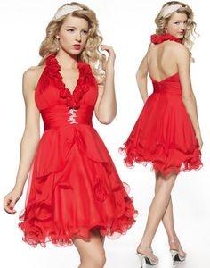 princess halter hot red cocktail dress 2012