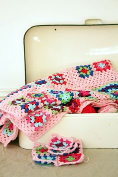 pink granny squares