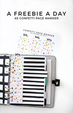 A freebie a day: Confetti Page Marker - Play Happy Play Arc Planner, Planner Dividers, Planner Tips, Planner Supplies, Planner Pages, Printable Planner, Planner Stickers, Freebies Printable, Free Printables