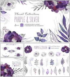 Description: Set of 31 high quality hand painted watercolor graphic elements. Purple and grey color palette. Perfect graphic for wedding invitations, greeting cards and more. For personal use. Free for download. File format: .png for Photoshop or other vector software. File size: 55 Mb.