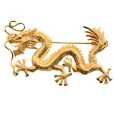 1920s Gold Dragon Brooch. Rich in golden color... Rich in texture and form... Rich in symbolism. This pin is nearly 100 years old and quite the treasure.
