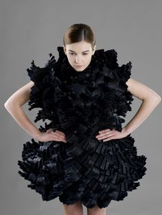 Innovative Fashion Design - pleated paper dress with intricate folded structure & volume; Fashion Forms, 3d Fashion, Dark Fashion, Unique Fashion, World Of Fashion, Editorial Fashion, Fashion Design, Textile Manipulation, Structured Fashion