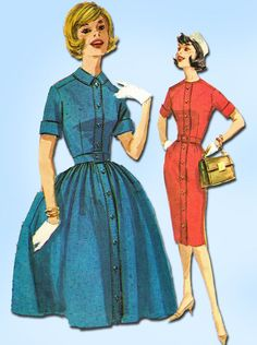 1960s Vintage McCalls Sewing Pattern 5997 Misses Shirtwaist Dress Size 12 32 B