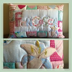 Em Teacup name pillow with added appliqued flower