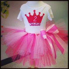Princess birthday tutu set. www.stylotutuboutique.com  #stylotutuboutique #Princess #personalized #littlegirl #crowntutu #hotpinktutu