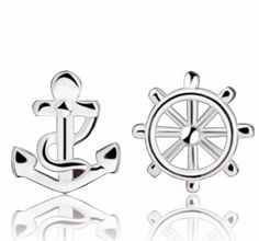 e088 Fashion Jewelry  Anchor&Rudder Shaped Stud Earrings for Women Silver plated earrings free shipping