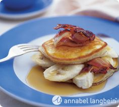Coconut and Banana Flapjacks. A great breakfast treat, these pancakes are so easy to prepare you can get the kids to make them for weekend brunch! http://www.annabel-langbein.com/