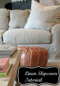 Tutorial for linen slipcovered couch at  Simply Linen blog