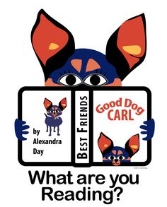 """Ivy is a miniature doberman pincher and chihuahua mix. She is very alert, yet loves to snuggle on a lap and listen to a good story. Her favorite book is """"Good Dog, CARL"""" by Alexander Day. What are you reading?  Ivy and friends are on small bookmarks that kids love to collect. See http://bookmarkmini.pbworks.com/w/page/59358497/Book%20Marks"""