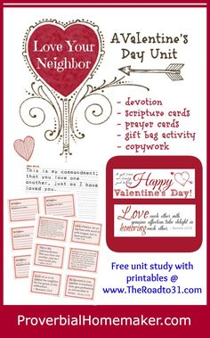 FREE PRINTABLE: A Valentine's Day Unit Study and Blog Hop - The Road To 31