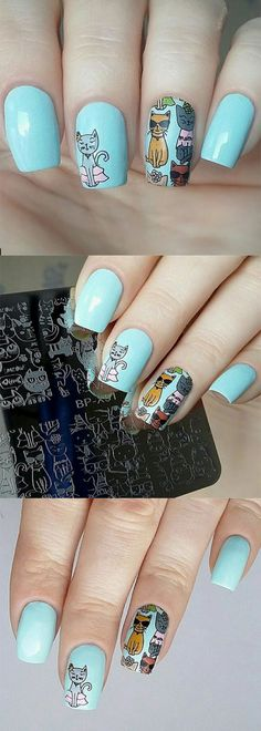 Lovely cat stamping nail art designed from @belka_58, more details shared in bornprettystore.com. #nailstamping