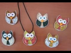 owls with nespresso capsules Mais Más Owl Crafts, Diy And Crafts, Crafts For Kids, Arts And Crafts, Recycled Art, Projects To Try, Jewelry Making, Handmade, Coffee Pods