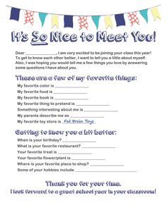 Get To Know Your New Teacher - Free Printable