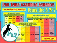FULLY EDITABLE for your convenience! This product consists of 15 days of past-tense writing warm-ups, using the 5 W's (who, what, where, when and why) designed with ELL students in mind. On days 1-10, students create logical sentences using the 5 Ws phrases that are listed on each page.