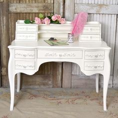 Gorgeous Ornate Writing Desk in White Shabby Chic
