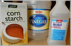 Makes windows SPARKLING Clean  1 c. water,2 T. vinegar,2 T. rubbing alcohol,1 1/2 t. cornstarch