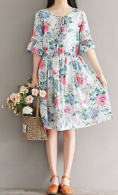 New Women loose fit flower floral dress skater skirt summer casual fashion chic #unbranded