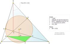Geometry Problem 1054 about Triangle, Altitude, Orthocenter, Circumcenter, Perpendicular, Midpoints